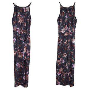 Le Kate Maxi Dress Gray Floral Print Tie Back Belt